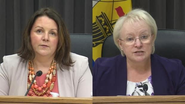 Dr. Jennifer Russell and Health Minister Dorothy Shephard at an update on AstraZeneca on Wednesday. (Government of New Brunswick - image credit)
