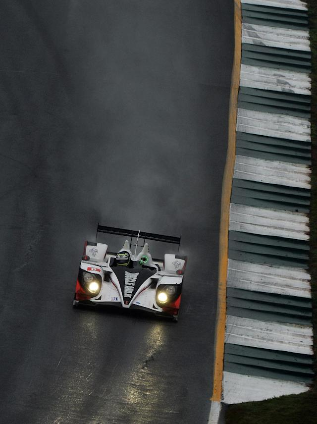 Klaus Graf, of Germany, drives the Muscle Milk Pickett Racing HPD ARX-03c during practice for the American Le Mans Series' Petit Le Mans auto race at Road Atlanta, Thursday, Oct. 17, 2013, in Braselton, Ga. (AP Photo/Rainier Ehrhardt)