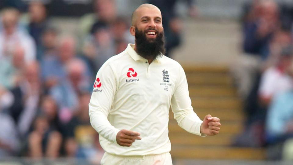 Moeen Ali is seen here appearing in a Test cricket match for England.