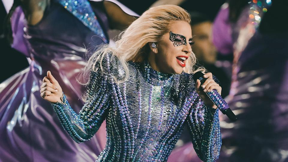 Singer Lady Gaga performs during the halftime show of the NFL Super Bowl 51 football game between the New England Patriots and the Atlanta Falcons, in Houston.