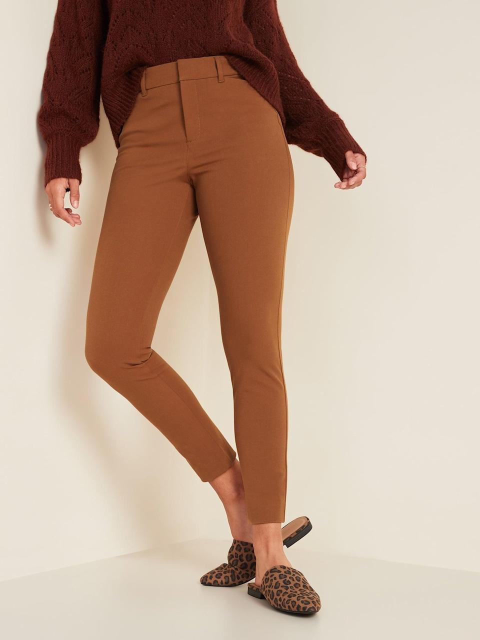 <p>The shade of these <span>Old Navy All-New High-Waisted Pixie Ankle Pants</span> ($40) is perfect for fall.</p>
