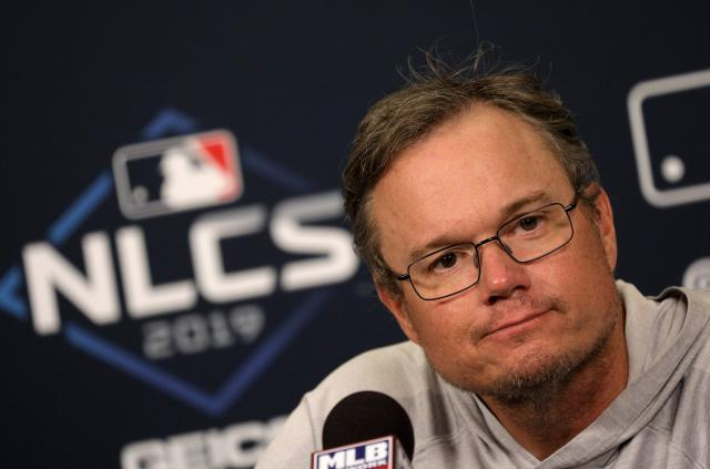 St. Louis Cardinals manager Mike Shildt speaks to media Thursday, Oct. 10, 2019, following a baseball practice session before the National League Championship Series against the Washington Nationals in St. Louis. (Christian Gooden/St. Louis Post-Dispatch via AP)