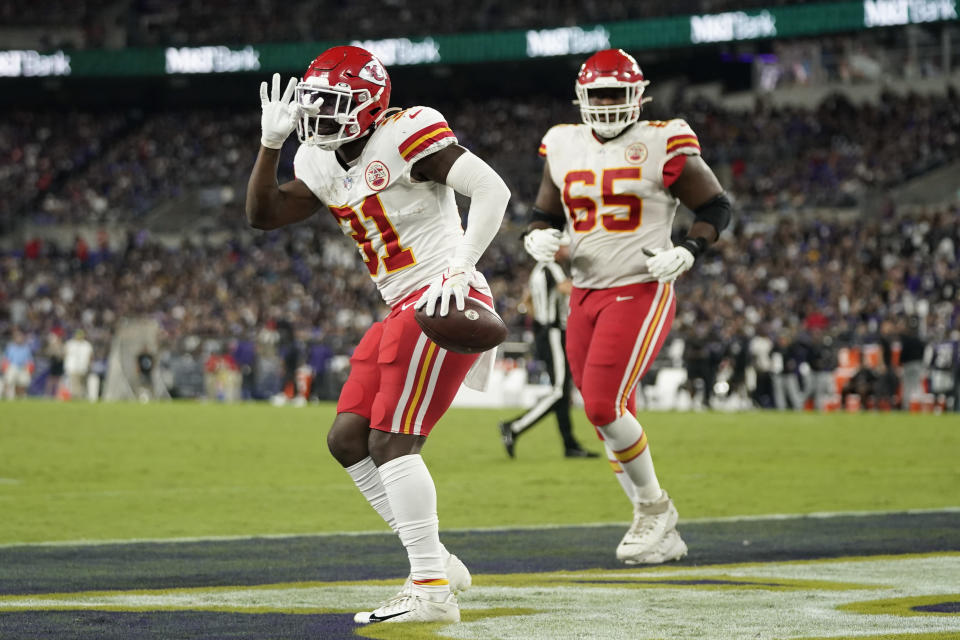 Kansas City Chiefs running back Darrel Williams (31) celebrates after scoring a touchdown in the first half of an NFL football game against the Baltimore Ravens, Sunday, Sept. 19, 2021, in Baltimore. (AP Photo/Julio Cortez)