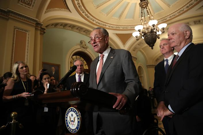Senate Minority Leader Chuck Schumer answers questions on the potential of impeachment proceedings against President Trump. (Photo: Win McNamee/Getty Images)