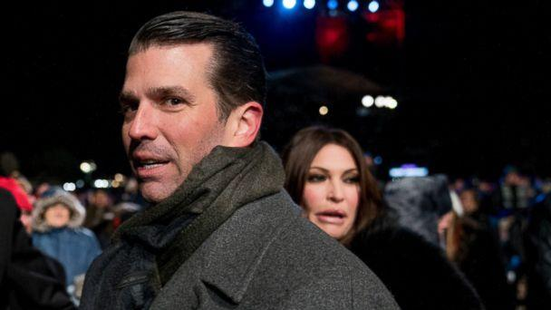 PHOTO: In this Nov. 28, 2018, file photo, Donald Trump Jr., center, and Kimberly Guilfoyle, right, depart following the National Christmas Tree lighting ceremony at the Ellipse near the White House in Washington. (AP)