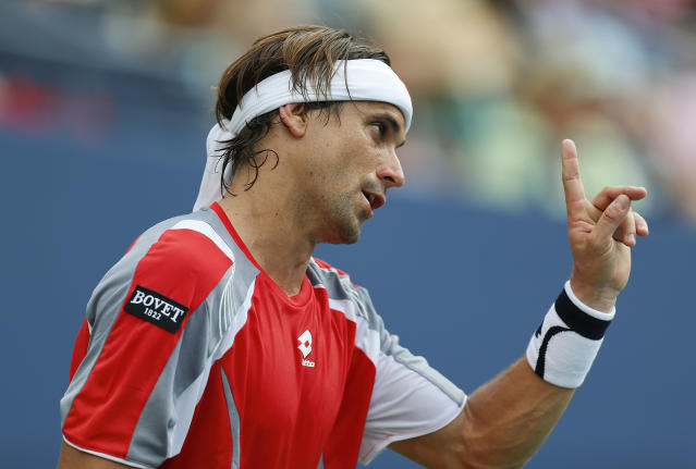 Spain's David Ferrer comments to the judge while playing Janko Tipsarevic of Serbia in the quarterfinals during the 2012 US Open tennis tournament, Thursday, Sept. 6, 2012, in New York. (AP Photo/Julio Cortez)
