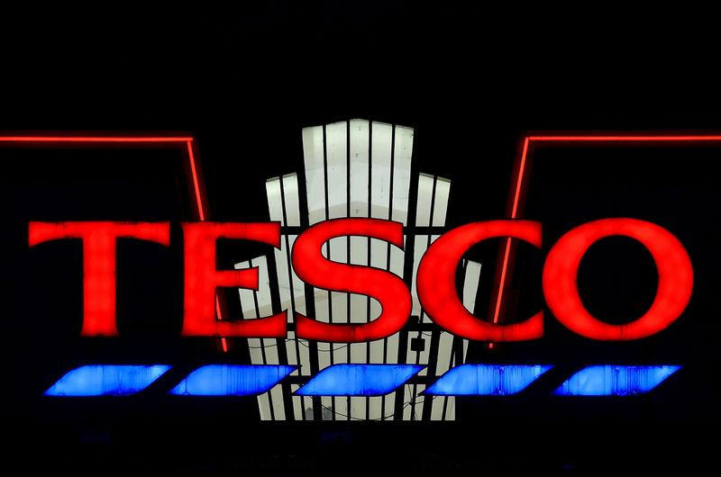 FILE PHOTO: A Tesco supermarket seen at dusk in an 'art deco' style building at Perivale in west London