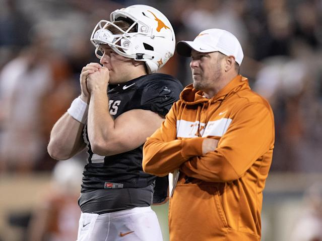 Texas Longhorns QB Sam Ehlinger (11) and head coach Tom Herman look on during the Texas spring game. (USAT)