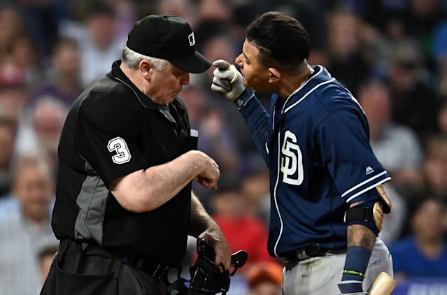 Machado was suspended one game for this confrontation with home plate umpire Bill Welke (Ron Chenoy-USA TODAY Sports)