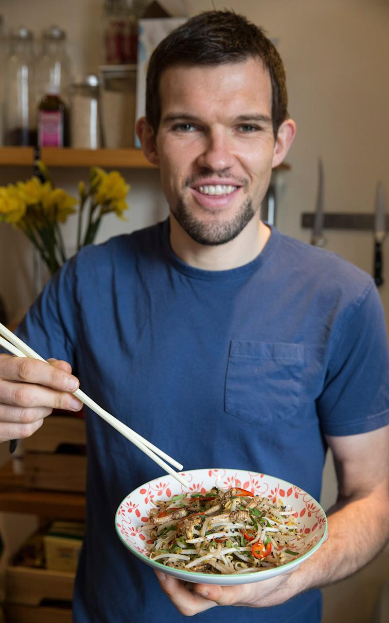 Hop to it, Marcus Leach cooks grasshoppers with bean sprouts - Credit: Heathcliff O'Malley