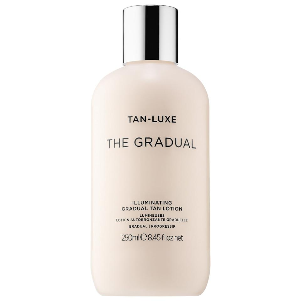"""<h3>Tan-Luxe Illuminating Gradual Tan Lotion<br></h3><br><strong>The Subtle Self Tanner</strong><br><br>Whether you're just dipping your toes into the world of self tanners or simply prefer a natural-looking finish, Tan Luxe's The Gradual is the MVP for a believable glow.<br><br><strong>The Hype:</strong> 4.1 out of 5 stars and 44 reviews on <a href=""""https://www.sephora.com/product/the-gradual-illuminating-gradual-tan-lotion-P424990"""" rel=""""nofollow noopener"""" target=""""_blank"""" data-ylk=""""slk:Sephora"""" class=""""link rapid-noclick-resp"""">Sephora</a><br><br><strong>Reviewers Say: </strong>""""I am very pale and every sunless tanner I have used has made me orange, been streaky, smelled awful, and hasn't lasted very long. This stuff is like the holy grail of sunless tanners. It don't look orange. It doesn't smell bad at all. And is super easy to apply. It dries quickly so I normally put it on right before I go to bed and wake up with a nice golden glow. I bought a mitt to apply it with and got better, more even results than applying by hand. My husband even was wondering if it would work on him. Can't recommend this enough!"""" — BetseyC, Sephora Reviewer<br><br><strong>Tan-Luxe</strong> THE GRADUAL Illuminating Gradual Tan Lotion, $, available at <a href=""""https://go.skimresources.com/?id=30283X879131&url=https%3A%2F%2Fwww.sephora.com%2Fproduct%2Fthe-gradual-illuminating-gradual-tan-lotion-P424990"""" rel=""""nofollow noopener"""" target=""""_blank"""" data-ylk=""""slk:Sephora"""" class=""""link rapid-noclick-resp"""">Sephora</a>"""