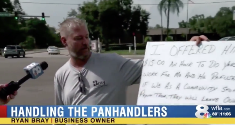 "Social media users are accusing Tampa-based WFLA of broadcasting an ""anti-homeless"" segment meant to shame a panhandler. (Photo: WFLA)"
