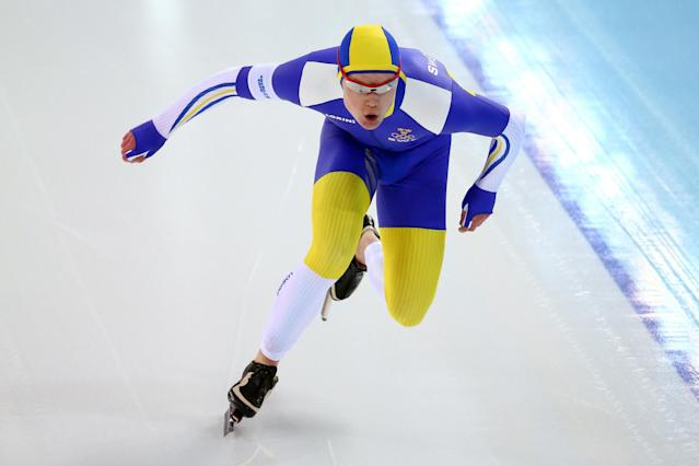 SOCHI, RUSSIA - FEBRUARY 12: David Andersson of Sweden competes during the Men's 1000m Speed Skating event during day 5 of the Sochi 2014 Winter Olympics at at Adler Arena Skating Center on February 12, 2014 in Sochi, Russia. (Photo by Streeter Lecka/Getty Images)