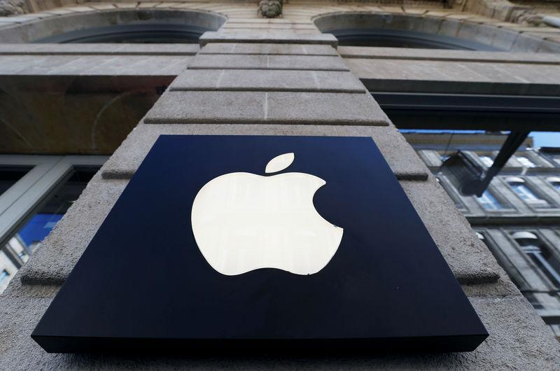 FILE PHOTO: The logo of Apple company is seen outside an Apple store in Bordeaux