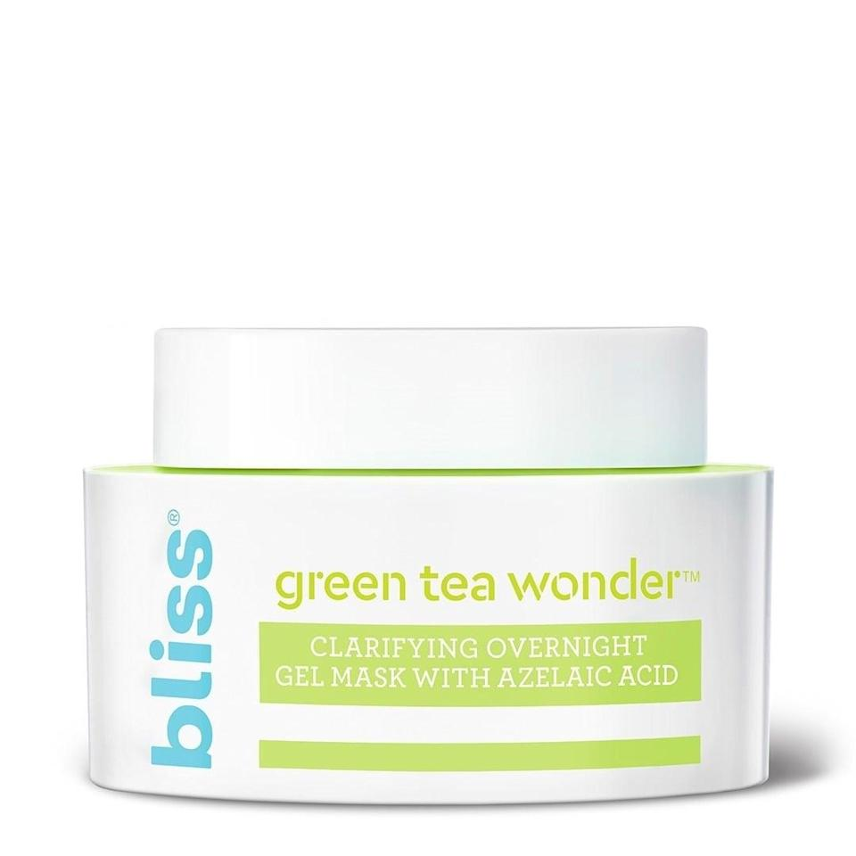 <p>The <span>Bliss Green Tea Wonder</span> ($15) is a clarifying and calming overnight mask that can help reduce inflammation in the skin.</p>
