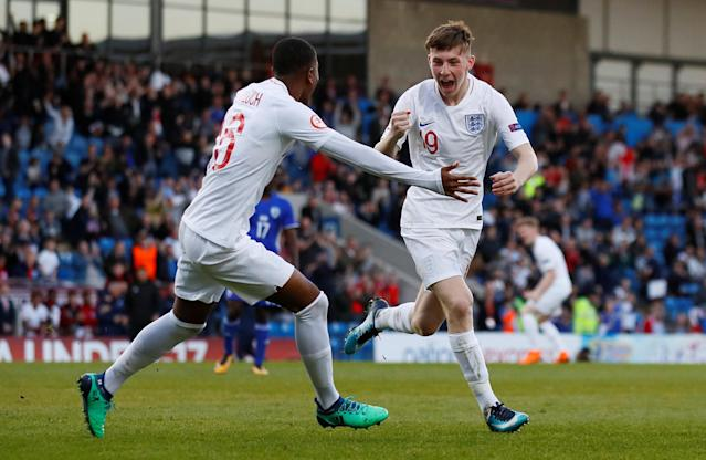 Soccer Football - UEFA European Under-17 Championship - Group A - England v Israel - Proact Stadium, Chesterfield, Britain - May 4, 2018 England's Matthew Daly celebrates with Rayhaan Tulloch after scoring their second goal Action Images via Reuters/Jason Cairnduff