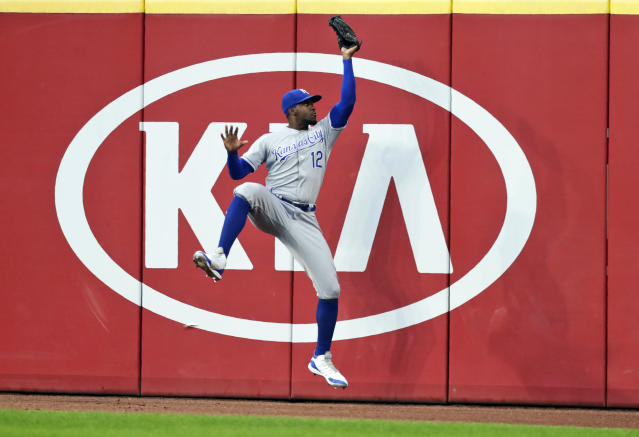 Kansas City Royals' Jorge Soler catches a ball hit by Cleveland Indians' Oscar Mercado in the fifth inning of a baseball game, Tuesday, June 25, 2019, in Cleveland. Mercado was out on the play. (AP Photo/Tony Dejak)