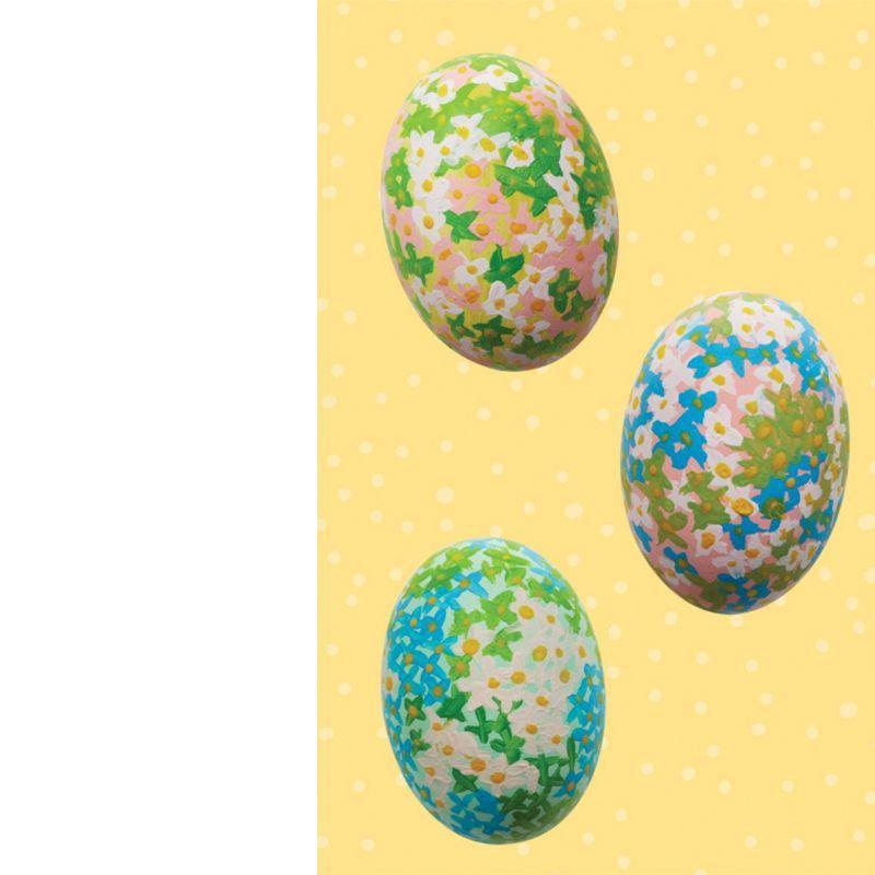 <p>A dyed egg can be a blank canvas for a watercolor garden. Paint small X's with dots in the centers.</p>