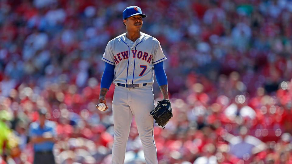New York Mets starting pitcher Marcus Stroman reacts after loading the bases against the Cincinnati Reds during the fifth inning of a baseball game, in CincinnatiMets Reds Baseball, Cincinnati, USA - 22 Sep 2019.