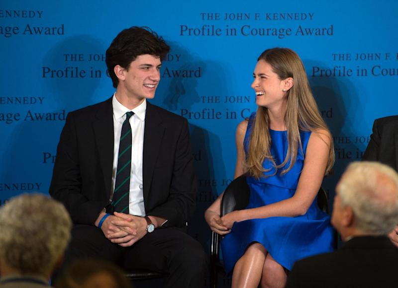 Lauren Bush Lauren, right, granddaughter of former President George H.W. Bush, laughs with Jack Schlossberg, grandson of former President John F. Kennedy, before accepting the 2014 John F. Kennedy Profile in Courage Award on behalf of her grandfather during a ceremony at the John F. Kennedy Library and Museum Sunday, May 4, 2014, in Boston. Bush was being recognized for the political courage he showed when he agreed to a 1990 budget compromise that jeopardized his re-election bid by violating his 1988 campaign promise not to raise taxes. (AP Photo/Gretchen Ertl)