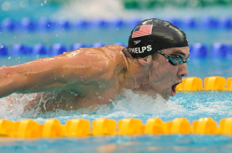FILE PHOTO: Michael Phelps of the U.S. competes in his men's 200m butterfly swimming final at the National Aquatics Center during the Beijing 2008 Olympic Games