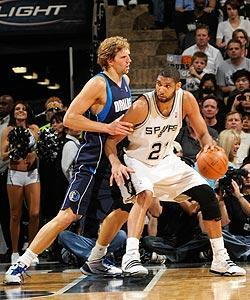 Dirk Nowitzki and the Mavericks couldn't keep Tim Duncan and the Spurs from reaching the second round for the 11th time in 13 seasons