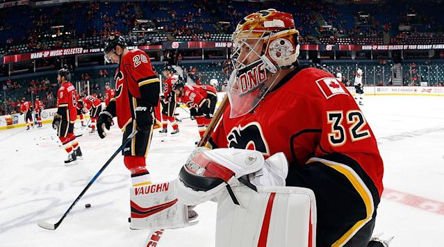 """<p>Is it too early to get seriously hyped about a save during the preseason? Probably. But let's do it anyway.</p><p>In Wednesday's tilt against the Vancouver Canucks, Calgary Flames goalie Jon Gillies went behind-the-back to snag the puck out of mid-air, submitting a way-too-early candidate for Save of the Year.</p><p>• <strong><a href=""""http://www.si.com/nhl/2017/09/19/ap-hkn-maple-leafs-andersen"""" rel=""""nofollow noopener"""" target=""""_blank"""" data-ylk=""""slk:New Diet, Regimen Has Frederik Andersen Ready for Second Season with Maple Leafs"""" class=""""link rapid-noclick-resp"""">New Diet, Regimen Has Frederik Andersen Ready for Second Season with Maple Leafs</a></strong></p><p>He finished the night with 19 saves on 23 shots over 40 minutes of player before Tyler Parsons finished things out.</p><p>Gillies, a third-round pick by the Flames in 2012, is the third goalie currently on the roster behind veterans Mike Smith and Eddie Lack. He's projected to begin the season in the AHL after signing a one-year, two-way deal in on the offseason, but it certainly won't be for lack of trying.</p>"""