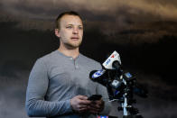 Andrei Doroshin speaks during a news conference in Philadelphia, Friday, Jan. 29, 2021. Philadelphia officials have shut down a COVID-19 vaccine clinic after concerns grew about Dorshin, the 22-year-old graduate student running the effort. (AP Photo/Matt Rourke)