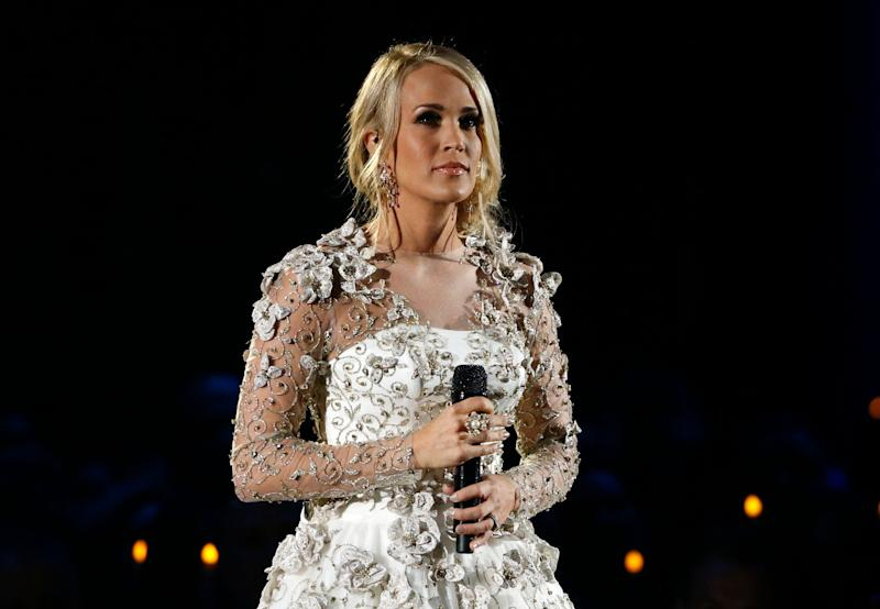 Country music star Carrie Underwood is recovering after a fall at her Nashville home left her with a broken wrist and other injuries.