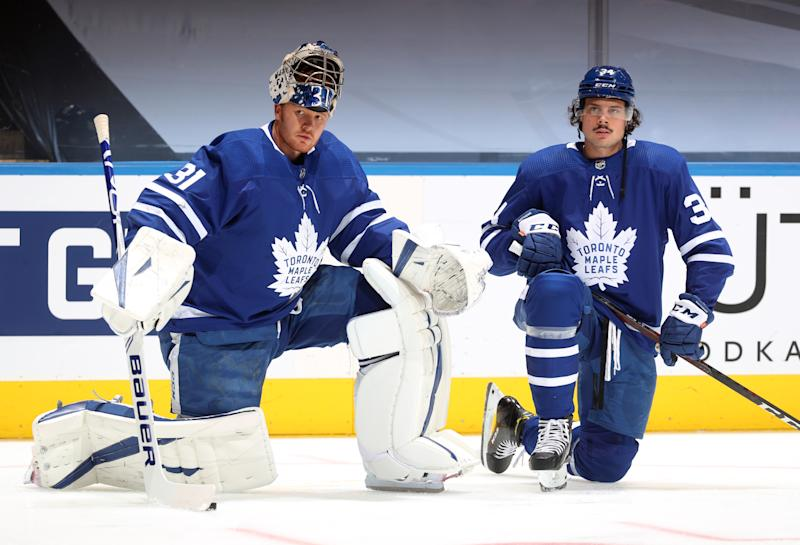 TORONTO, ONTARIO - AUGUST 09: Goaltender Frederik Andersen #31 and Auston Matthews #34 of the Toronto Maple Leafs attend warm ups before playing in Game Five of the Eastern Conference Qualification Round against the Columbus Blue Jackets at Scotiabank Arena on August 09, 2020 in Toronto, Ontario. (Photo by Chase Agnello-Dean/NHLI via Getty Images)