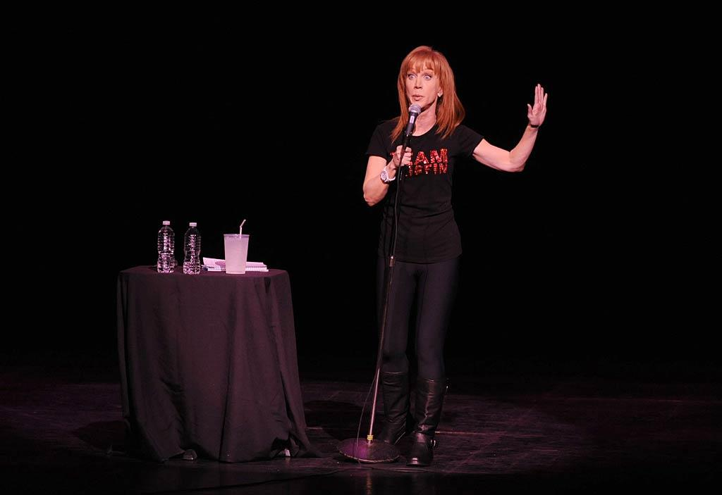 """Kathy Griffin was in her usual fine form -- acerbic, funny, and hilariously mean -- while performing her stand-up show at the Gibson Amphitheatre Thursday night. And it was all for a good cause -- Griffin donated all proceeds from the night to The Trevor Project, the national 24-hour, toll free suicide hotline for gay youth. Frazer Harrison/<a href=""""http://www.gettyimages.com/"""" target=""""new"""">GettyImages.com</a> - December 16, 2010"""