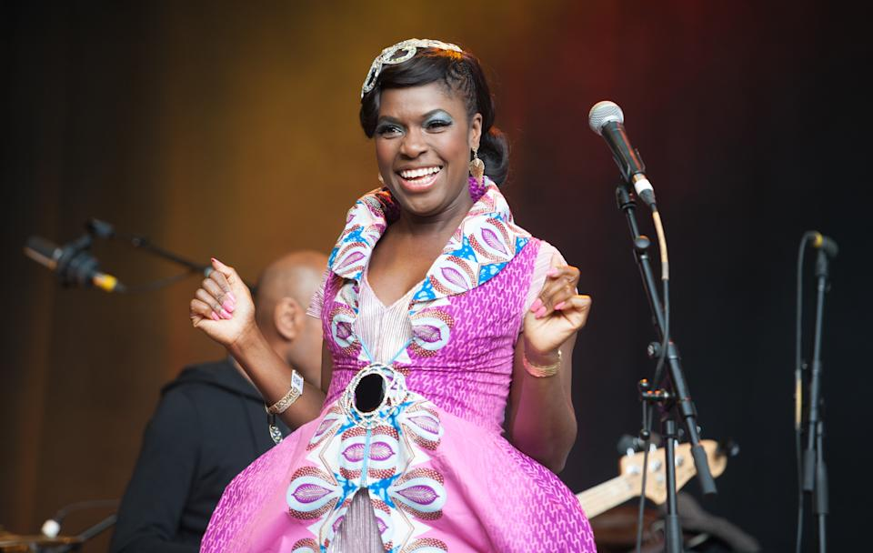 Ibibio Sound Machine performing live on stage at Boomtown Fair on August 16, 2015 at Matterley Estate, Hampshire, United Kingdom