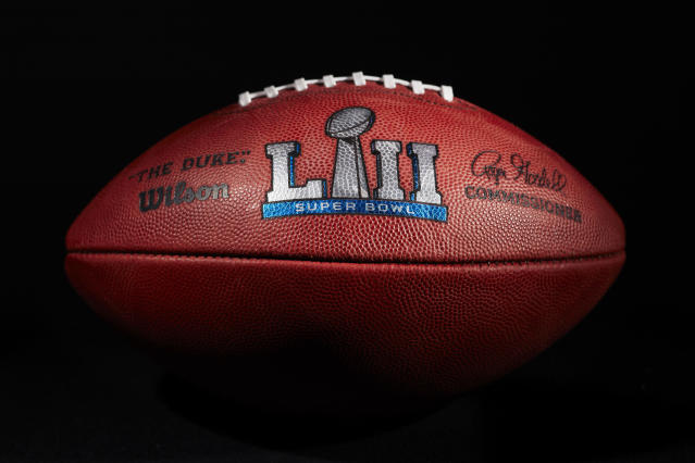 An official ball for the NFL Super Bowl LII football game from the Wilson Sporting Goods Co. in Ada, Ohio, Monday, Jan. 22, 2018. (AP)