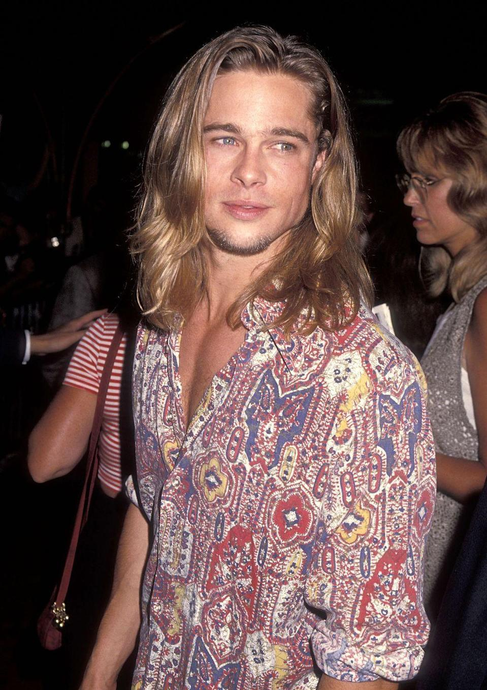 <p>One of Pitt's most notable features in his early heartthrob days was his hair, despite its often-changing color and style.</p>