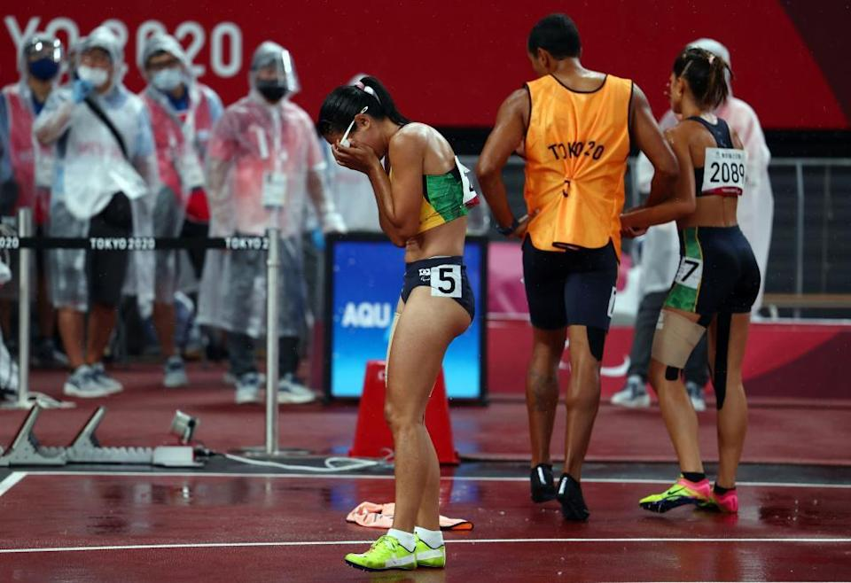 Jerusa Geber Dos Santos of Brazil reacts after being disqualified.