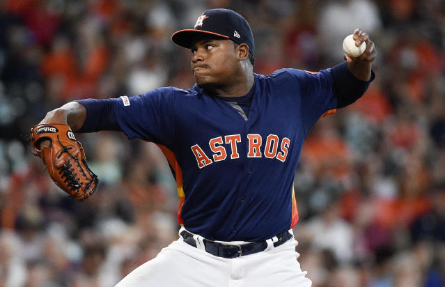 Houston Astros starting pitcher Framber Valdez delivers during the first inning of a baseball game against the Toronto Blue Jays, Saturday, June 15, 2019, in Houston. (AP Photo/Eric Christian Smith)