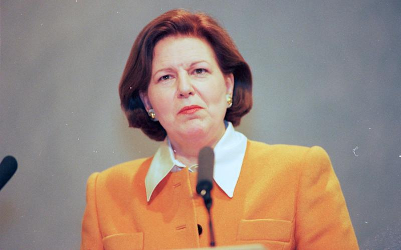 Lady Nicholson giving a speech at Liberal Party Conference 1996