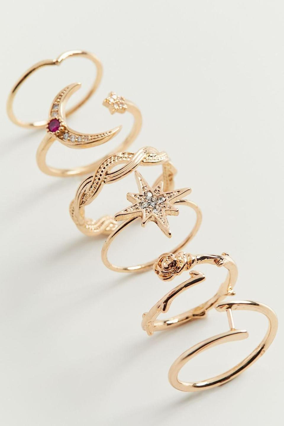 <p>If they love to accessorize with rings ontop of rings, the <span>Sienna Celestial Ring Set</span> ($20) is such a gorgeous find. It comes with six stackable rings inspried by the celestial aesthetic. It also comes in silver. </p>