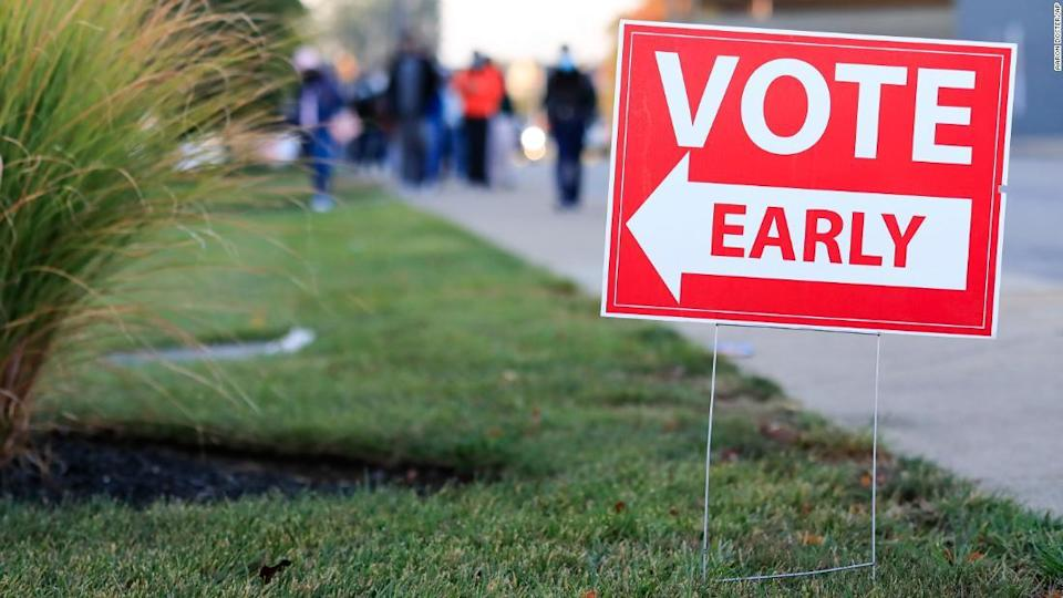 """<p>People wait in line to vote early at the Hamilton County Board of Elections, Tuesday, October 6, in Norwood, Ohio.</p><div class=""""cnn--image__credit""""><em><small>Credit: Aaron Doster/AP / AP licensed</small></em></div>"""