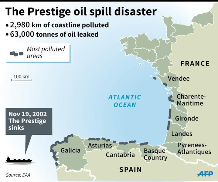 Map locating the regions of France and Spain affected by oil from the Prestige, a tanker that broke up off northwestern Spain in 2002. (AFP Photo/Sophie Ramis)