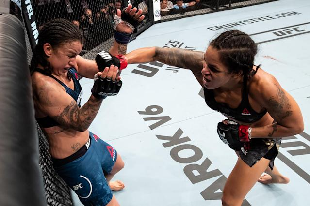 Amanda Nunes left Raquel Pennington bloodied and battered Saturday for a TKO win to defend her bantamweight title at UFC 224. (Getty)