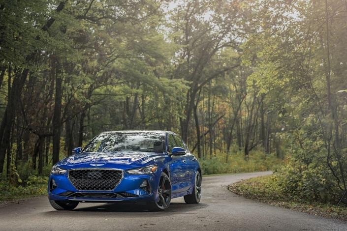 "<p>Any premium-brand carmaker worth its salt has, at one time or another, followed the basic blueprint laid down by <a href=""https://www.caranddriver.com/bmw/3-series"" rel=""nofollow noopener"" target=""_blank"" data-ylk=""slk:the BMW 3-series"" class=""link rapid-noclick-resp"">the BMW 3-series</a>. Genesis's dealers might have preferred that the brand start with SUVs instead. But, by launching a successful effort into such an established, yardstick segment where many have failed before, Genesis gains credibility.And this Genesis can play. <a href=""https://www.caranddriver.com/genesis/g70"" rel=""nofollow noopener"" target=""_blank"" data-ylk=""slk:The low-slung G70"" class=""link rapid-noclick-resp"">The low-slung G70</a> is built with the same basic set of parts as <a href=""https://www.caranddriver.com/kia/stinger"" rel=""nofollow noopener"" target=""_blank"" data-ylk=""slk:the Kia Stinger"" class=""link rapid-noclick-resp"">the Kia Stinger</a>, but the wheelbase of the Genesis is 2.8 inches shorter than the Kia's, which gives the G70 tight, classic proportions. With subtly flared fenders, a short front overhang, and taut skin, the G70 looks poised. It's sophisticated without appearing staid, sporty without being overwrought.</p>"