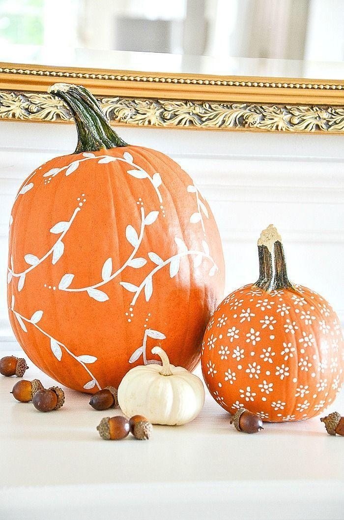 """<p>To bring some visual interest to a set of standard orange pumpkins, get out a white paint marker and apply your artistic handiwork to the gourds. </p><p><strong>Get the tutorial at <a href=""""https://www.stonegableblog.com/white-patterned-pumpkin-diy/"""" rel=""""nofollow noopener"""" target=""""_blank"""" data-ylk=""""slk:StoneGable"""" class=""""link rapid-noclick-resp"""">StoneGable</a>.</strong></p><p><a class=""""link rapid-noclick-resp"""" href=""""https://go.redirectingat.com?id=74968X1596630&url=https%3A%2F%2Fwww.walmart.com%2Fip%2FWhite-Paint-Pen-6-Pack-0-7mm-Acrylic-Permanent-Marker-Pens-Wood-Rock-Plastic-Leather-Glass-Stone-Metal-Canvas-Ceramic-Extra-Very-Fine-Point-Opaque-In%2F556141404&sref=https%3A%2F%2Fwww.thepioneerwoman.com%2Fhome-lifestyle%2Fcrafts-diy%2Fg36891743%2Ffall-mantel-decorations%2F"""" rel=""""nofollow noopener"""" target=""""_blank"""" data-ylk=""""slk:SHOP PAINT MARKERS"""">SHOP PAINT MARKERS</a></p>"""