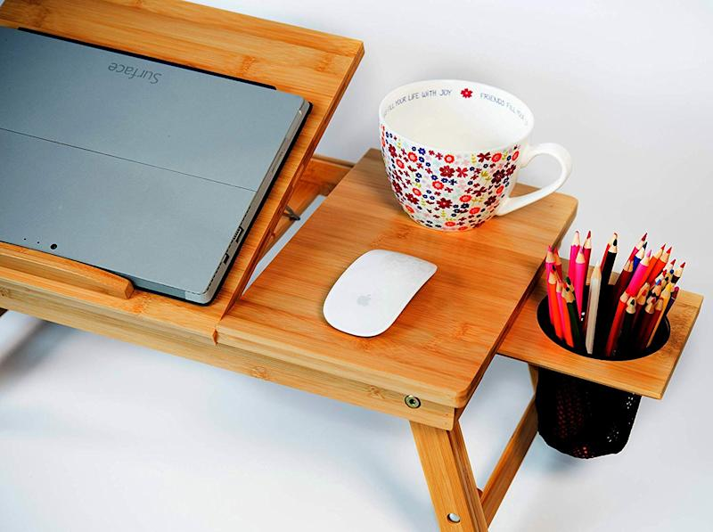 Everything you need is available on this lap desk. (Photo: Amazon)