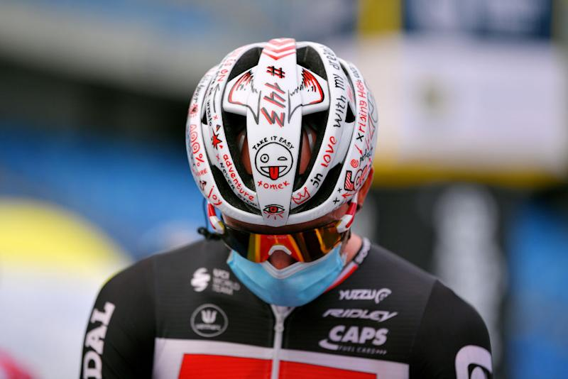 Tomasz Marczynski (Lotto Soudal) has a tribute to Bjorg Lambrecht on his helmet
