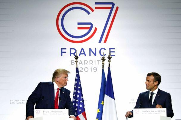 PHOTO: President Donald Trump and French President Emmanuel Macron attend the final press conference during the G7 summit, Aug. 26, 2019 in Biarritz, France. (Francois Mori/AP)