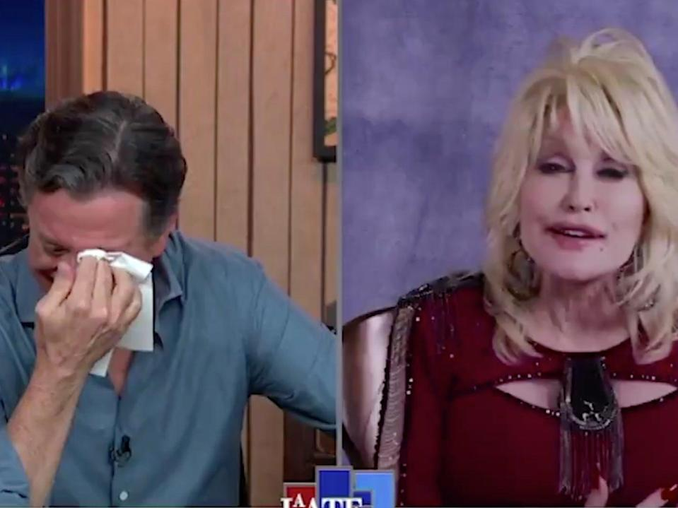 Dolly Parton reduces Stephen Colbert to tears (Screengrab/Twitter)