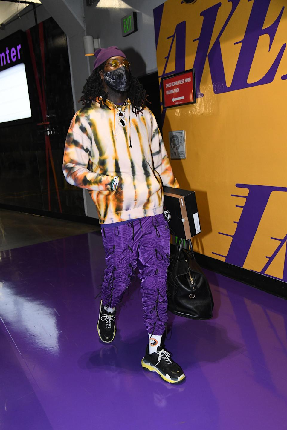 Montrezl Harrell of the Lakers arrives for a game against the Chicago Bulls in Los Angeles, January 8, 2021.