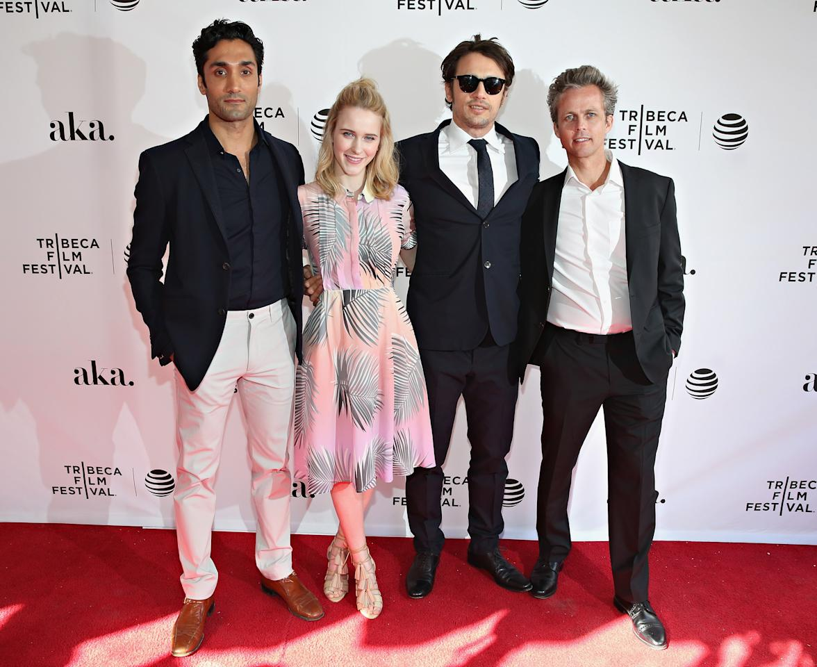 """NEW YORK, NY - APRIL 16:  Actor Dominic Rains, actress Rachel Brosnahan, actor James Franco and director Ian Olds attend """"The Fixer"""" premiere during the 2016 Tribeca Film Festival at SVA Theater 1 on April 16, 2016 in New York City.  (Photo by Cindy Ord/Getty Images for Tribeca Film Festival)"""