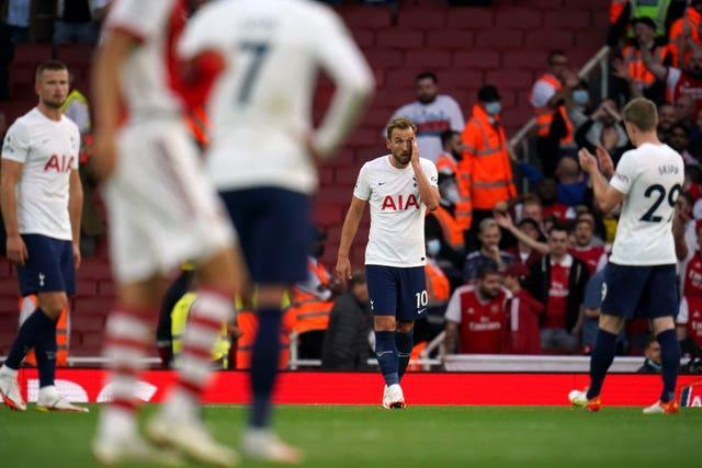 Harry Kane, centre, shows his frustration during Tottenham's derby defeat to Arsenal